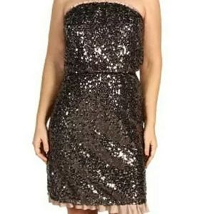 DKNY JEANS Taupe Strapless Sequin Dress